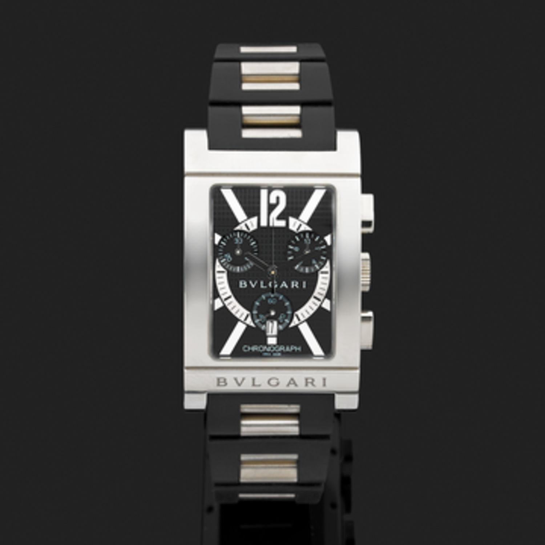 Montre Bulgari Chronographe Rettangolo - Caoutchouc et acier - 6603 ... da00858a01b