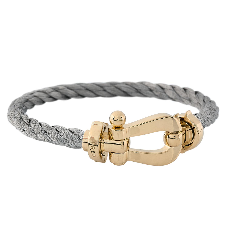 bracelet fred force 10 or jaune 750 oo 18k et acier 12662 mika l dan. Black Bedroom Furniture Sets. Home Design Ideas